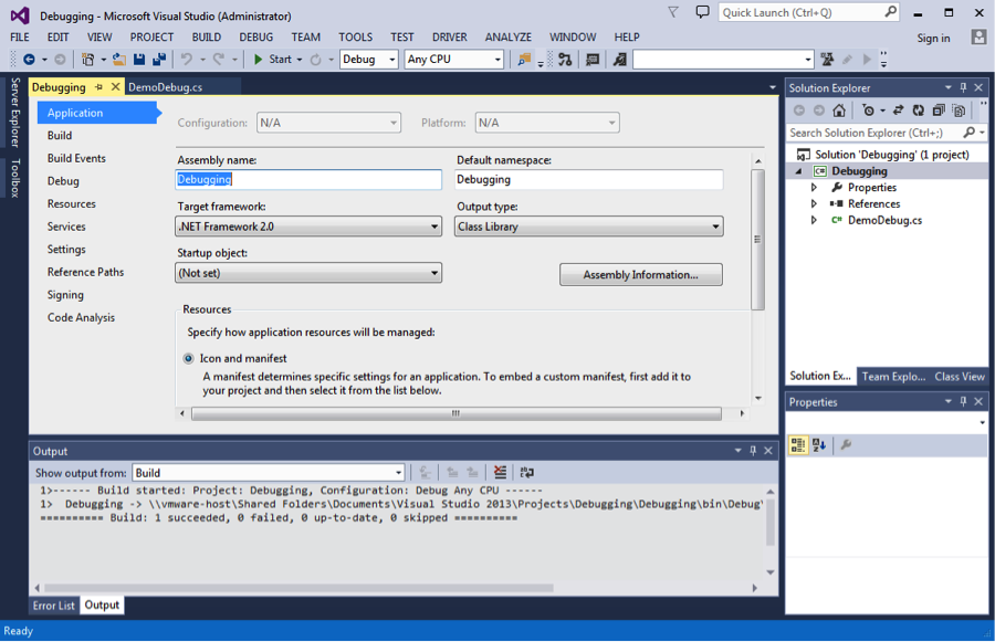 C# Project Properties in Microsoft Visual Studio