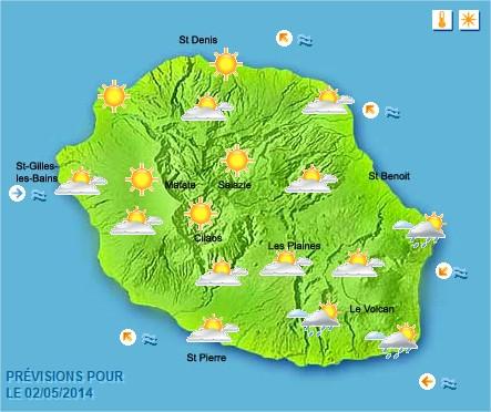 Prévisions météo Réunion pour le Vendredi 02/05/14