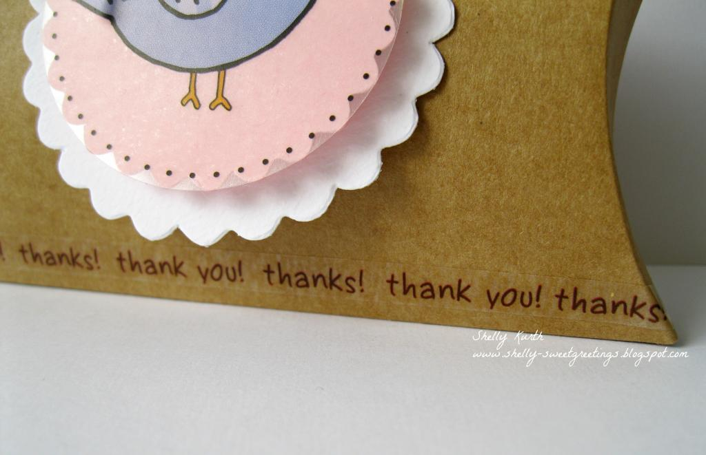 SRM Stickers Blog - Birdie Pillow Box by Shelly - #kraft #pillowbox #punchedpieces #stickers #twine