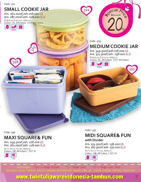 Promo Diskon Tulipware Januari 2016, Small Cookie Jar, Maxi Square Fun, Medium Cookie Jar