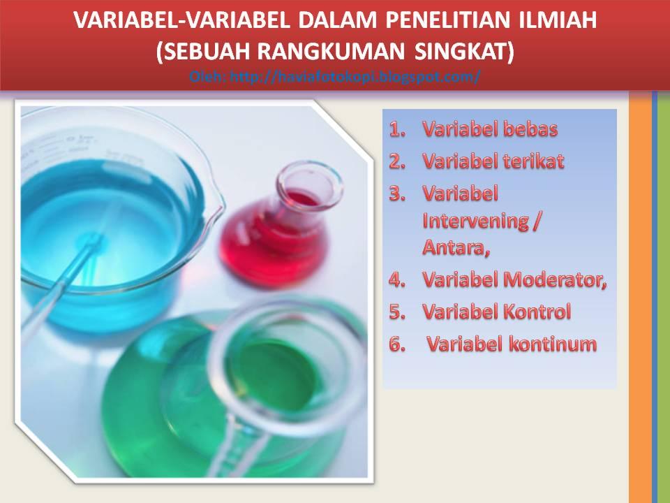 variabel variabel dalam penelitian ilmiah pendidikan dan non pendidikan