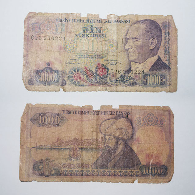 Turkey 1000 Lira 1970 banknote