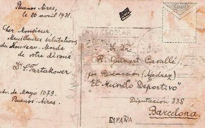 Postal enviada por Tartakower a Ángel Ribera en 1931