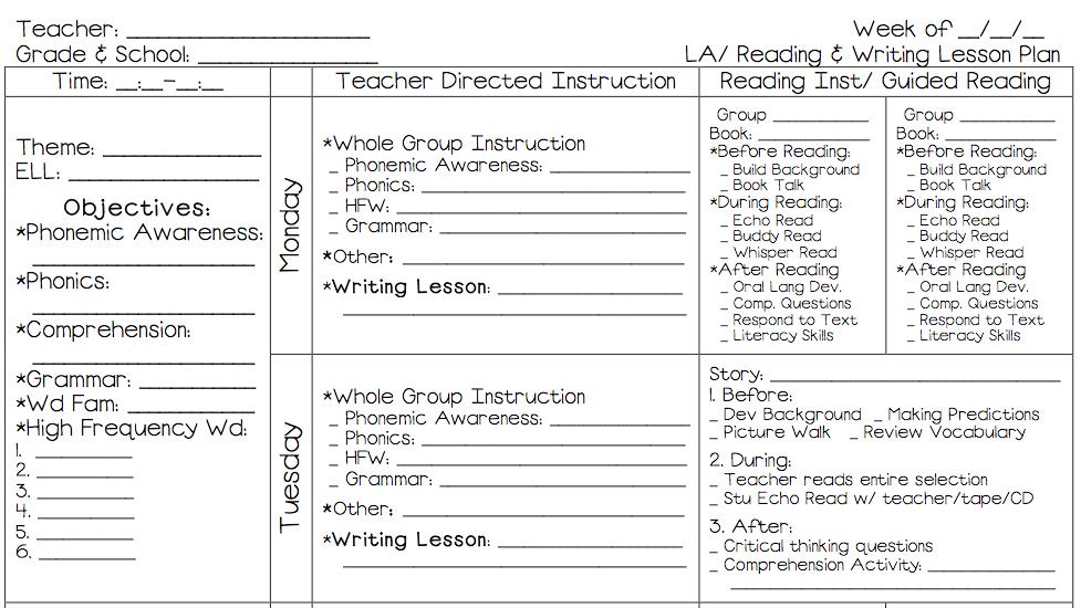 language lesson plans: