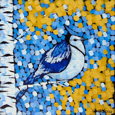 october blue jay painting, acrylic on canvas by artist aaron kloss duluth mn