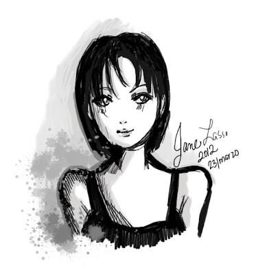 Dibujo de chica en sketchbook