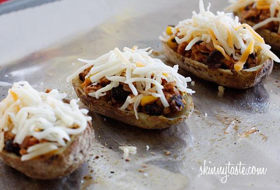 Loaded Turkey Santa Fe Baked Potato Skins | Skinnytaste