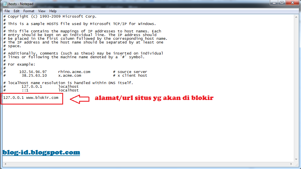 ... situs yang akan kamu blokir (lihat gambar dibawah ini). Lalu save file