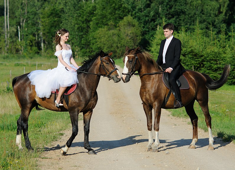 jaunavedžiai su žirgais