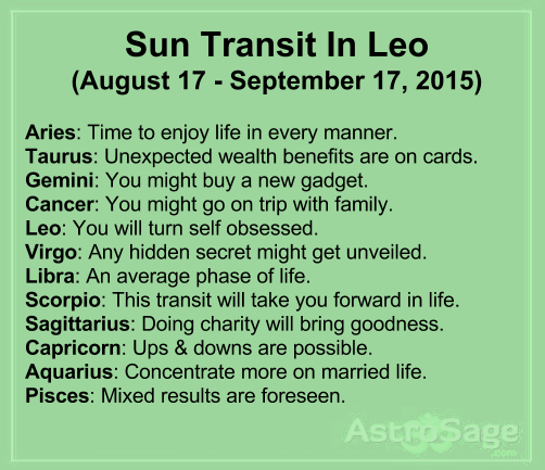 Sun transit in Leo will affect bring changes in your life.