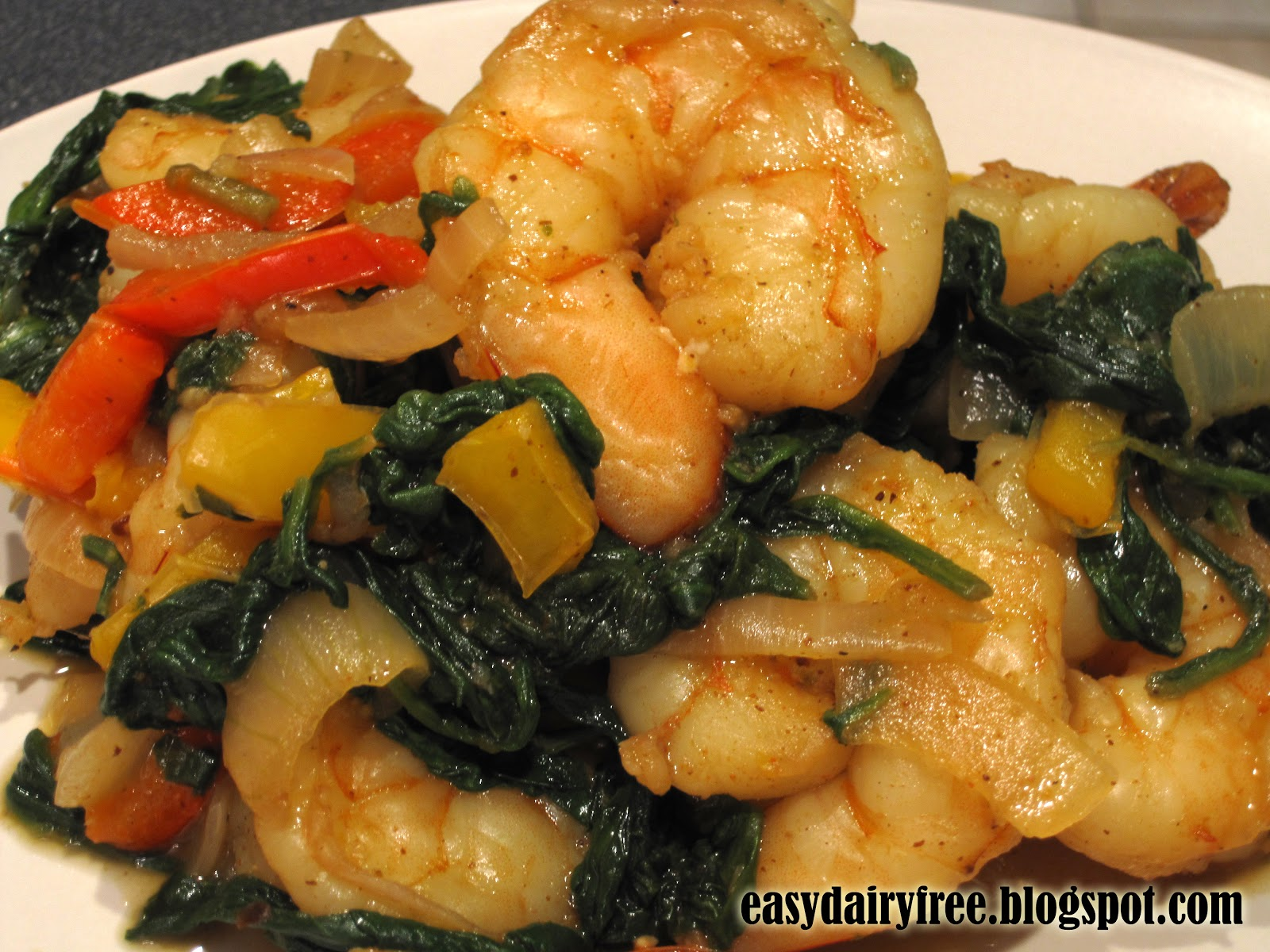 Easy Dairy Free: Sautéed Shrimp and Spinach