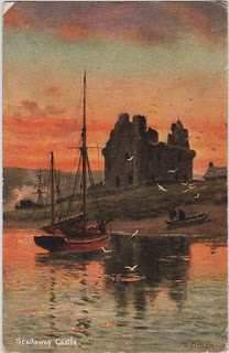 Vintage postcard of Scalloway Castle, Shetland Islands, by the artist R.Gallon.