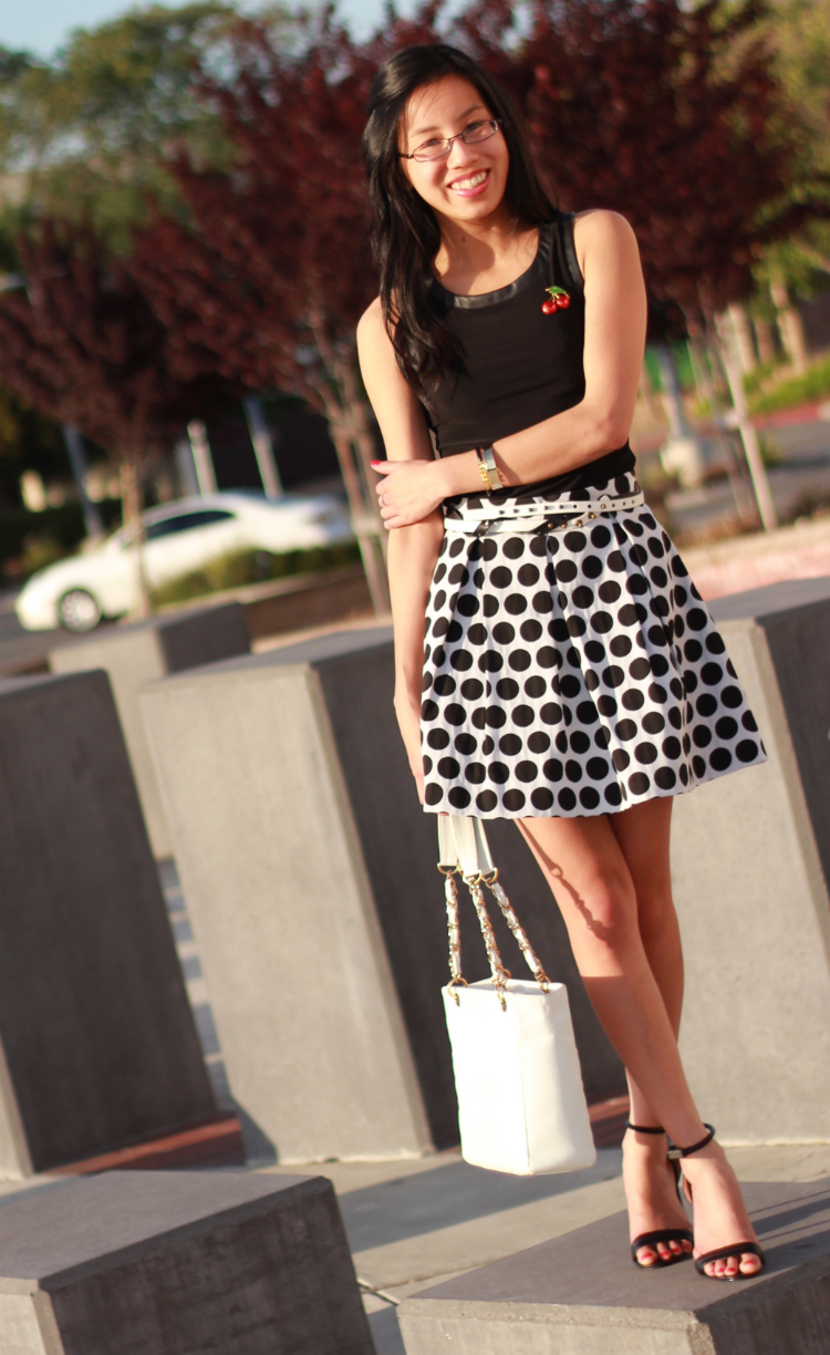 french connection polka dot skirt black and white outfit cherry pin