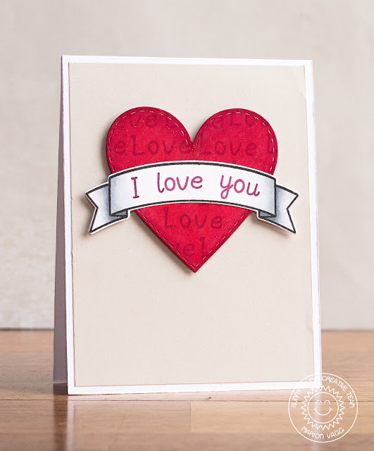 Sunny Studio Stamps Valentine's Day I Love You Card by Marion Vagg (using Stitched Heart Dies, Sunny Borders and Sweet Script)