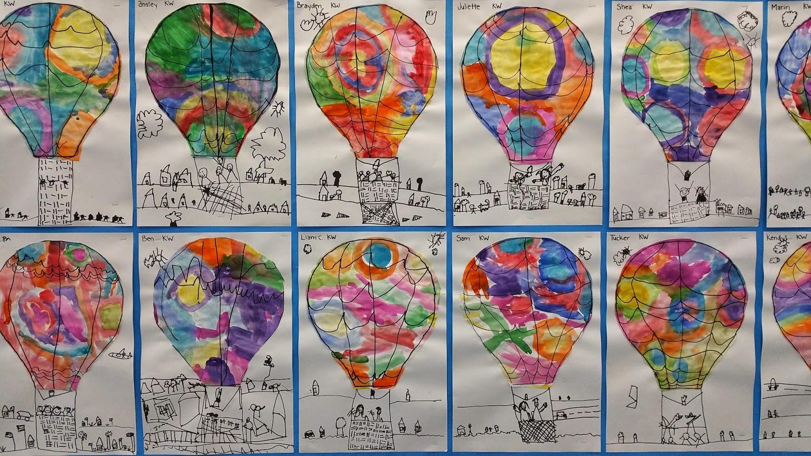 Kindergarten hot air balloons paintbrush rocket for Balloon art project