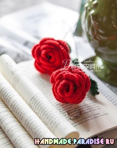 Вязаные розы крючком. Схема