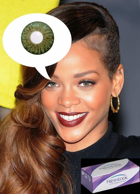 Same beautiful eyes as Rihanna wearing Green Freshlook Colorblends