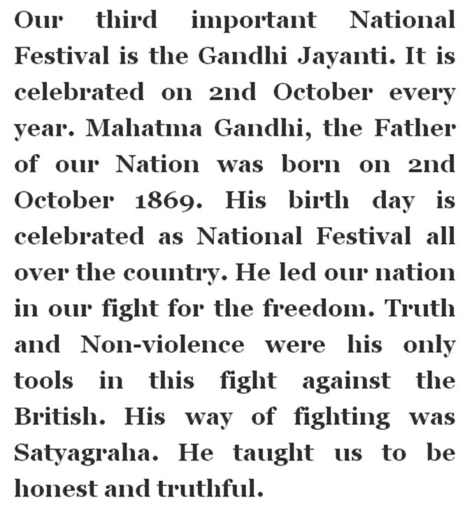 short essay on gandhi jayanti in english Short essay, speech on mahatma gandhi jayanti for school students in english & hindi alex september 27 short essay, speech on holi festival for school students in english & hindi happy holi quote, saying, slogan, sms.