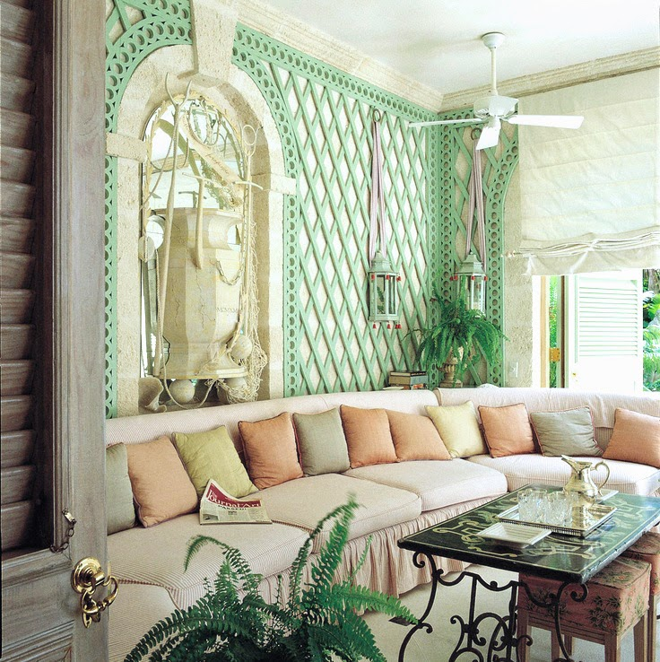 mint green trellis sunroom
