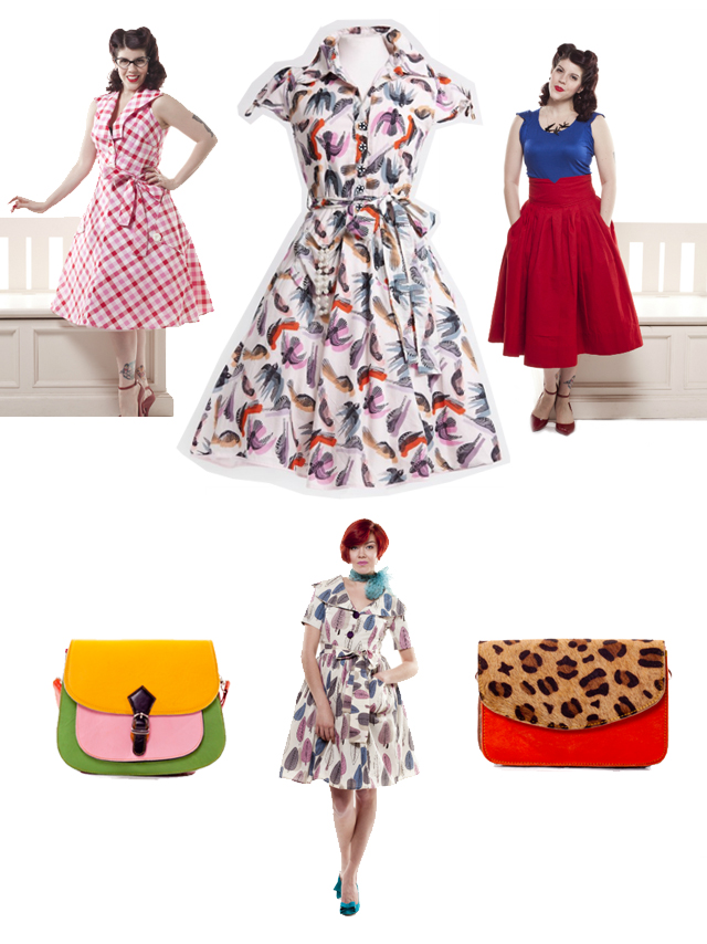 vintage dresses and accessories with prints and patterns