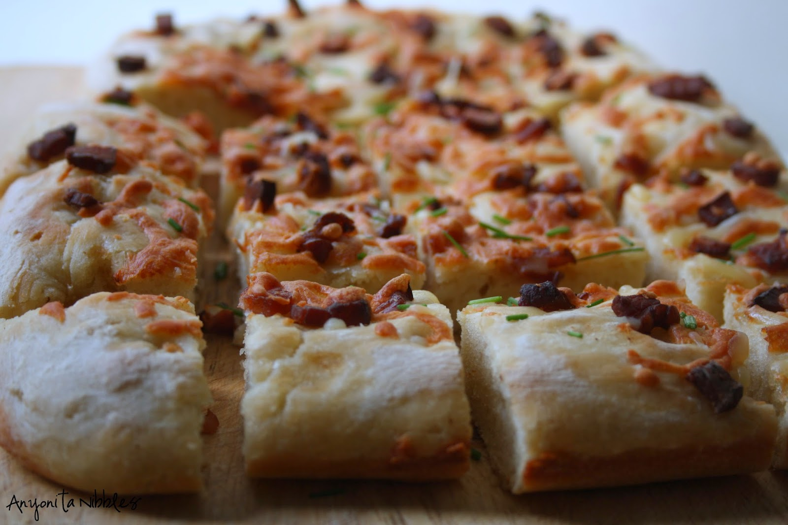 Cut loaded potato focaccia from Anyonita Nibbles