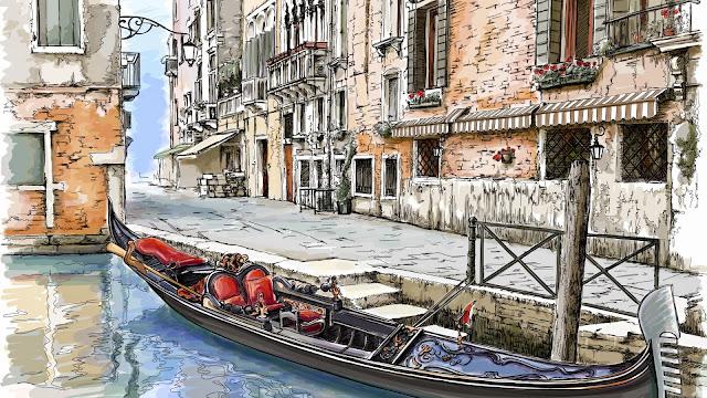 Fondos de Pantalla Pintura Canales de Venecia