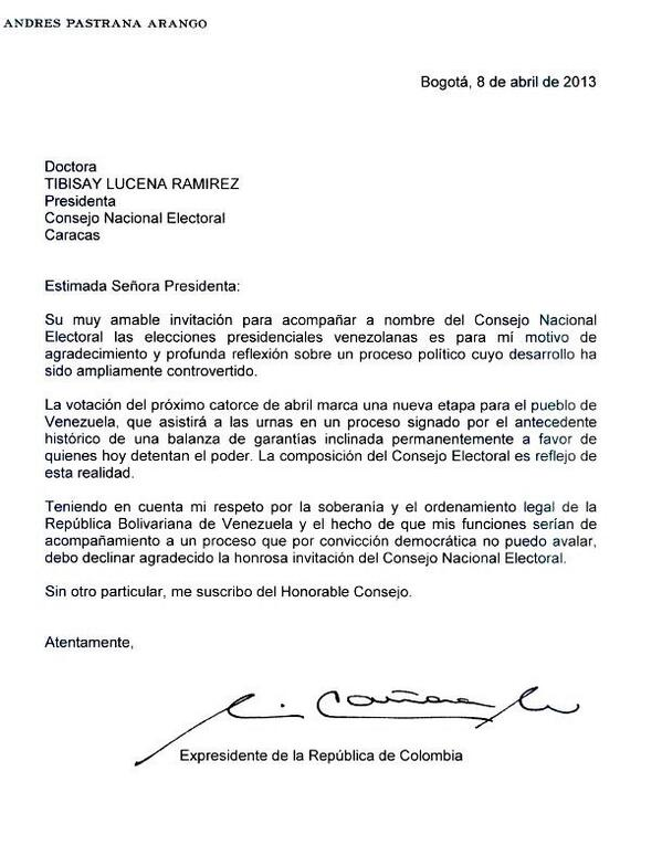El republicano liberal la carta de andres pastrana for Solicitud de chequera banco venezuela