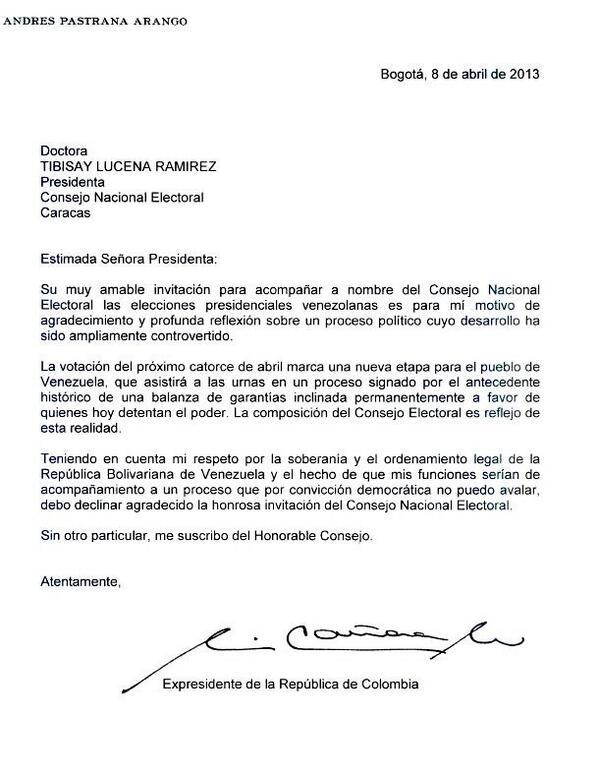El republicano liberal la carta de andres pastrana for Banco de venezuela solicitud de chequera