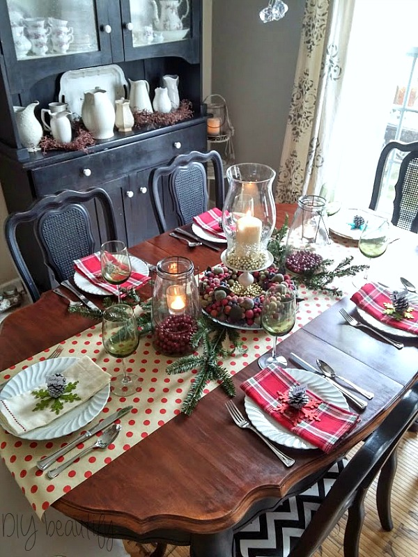 Setting a Christmas table