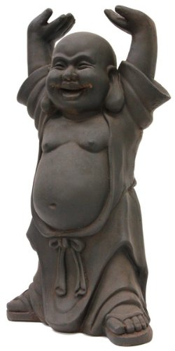 Happy Buddha: Clay Statue