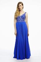 Rochie lunga, eleganta, marca Dynasty, din voal de culoare albastra (Dynasty)