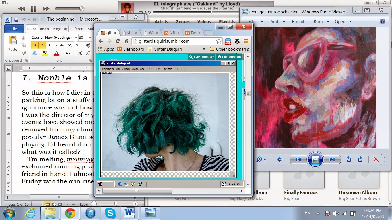 desktop screenshot with early novel, tumblr, childish gambino and paintings