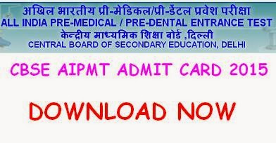 AIPMT 2015 Admit Card by CBSE