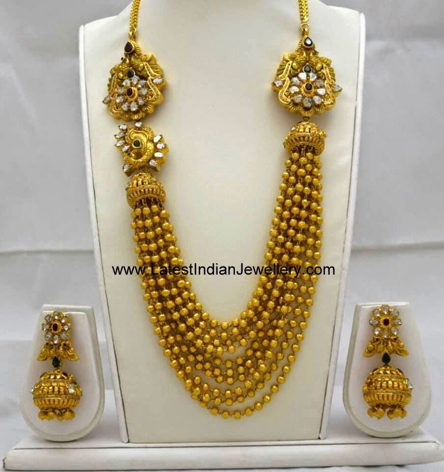 gold beaded gundla mala chandra haram