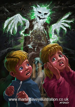 Kids with Haunted Grandfather Clock Ghost digital painting