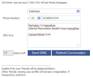 sms gratis dengan facebook