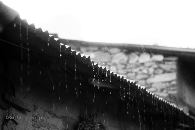 Rain on a corrugated metal sheet in black and white.