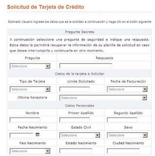 Formulario de solicitud de Tarjetas de Crédito por Provinet