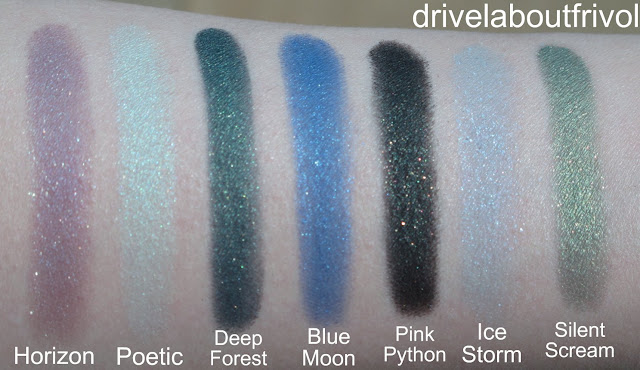swatch Addiction eyeshadow 052P Horizon, 053P Poetic, 055P Blue Moon, 054P Deep Forest, 055P Blue Moon, 058P Silent Scream Aurora Reflection