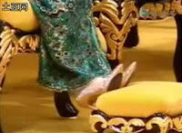 The glittering crystal shoes worn by brunei Her Majesty