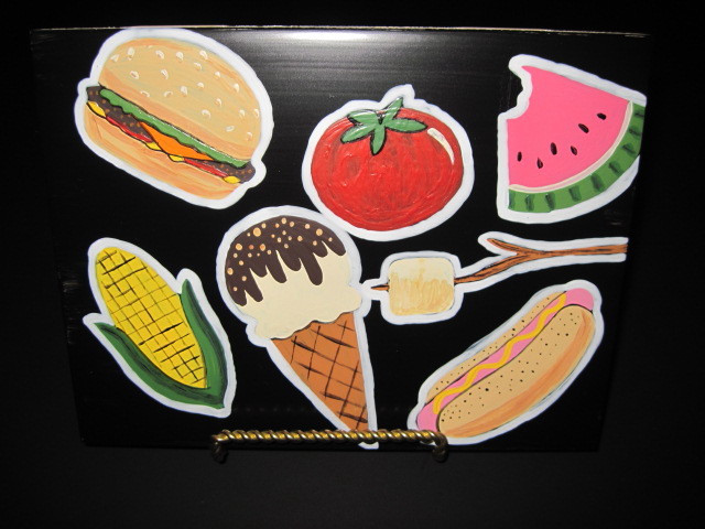 BBQ themed painted ceramic tile
