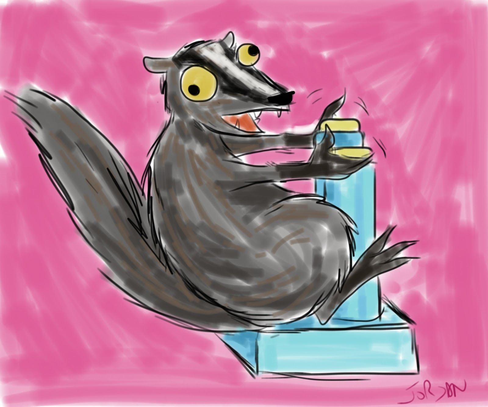 Drawing of badger playing with robot controls. GIRL, CRAFTED blog.