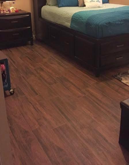 Final Photos Of The 6x24 Botanica Series Teak Wood Look Porcelain Plank Tile Bedroom In Wesley Chapel Florida Planktile Woodlook