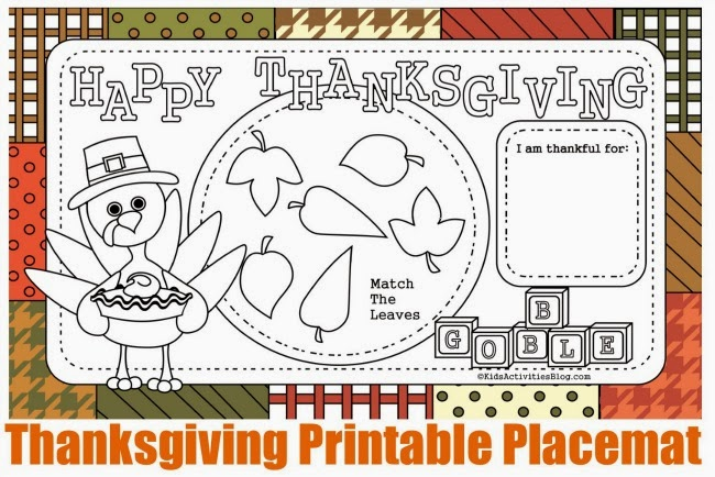 thanksgiving coloring placemat