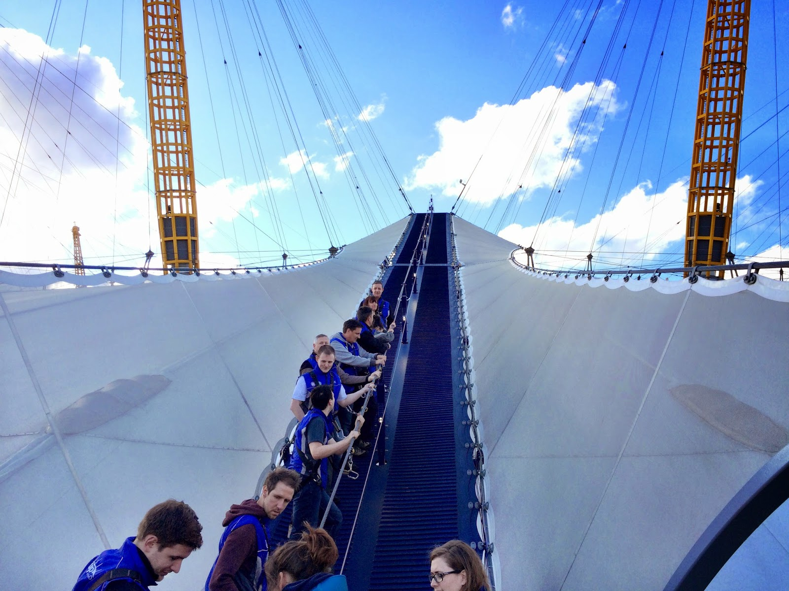 Hiking single file over the O2 Arena