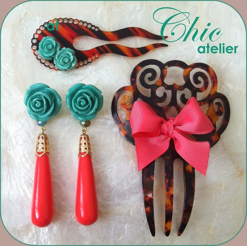 Pendientes y peinecillos de moda flamenca hecho a mano