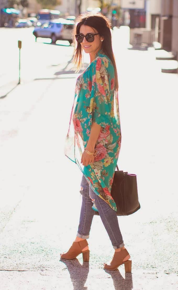 Adorable Crash and Burn Kimono, Jeans, Platform Shoes and Suitable Handbag