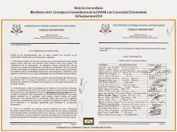 Manifiesto de H. Consejeros Universitarios de la UAAAN
