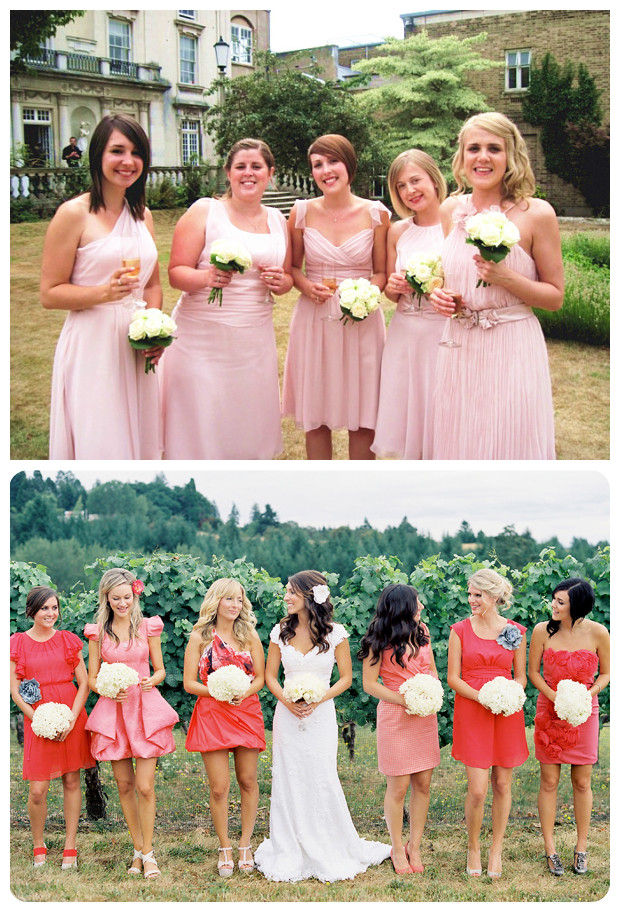 Mismatched Pink Bridesmaid Dresses 02