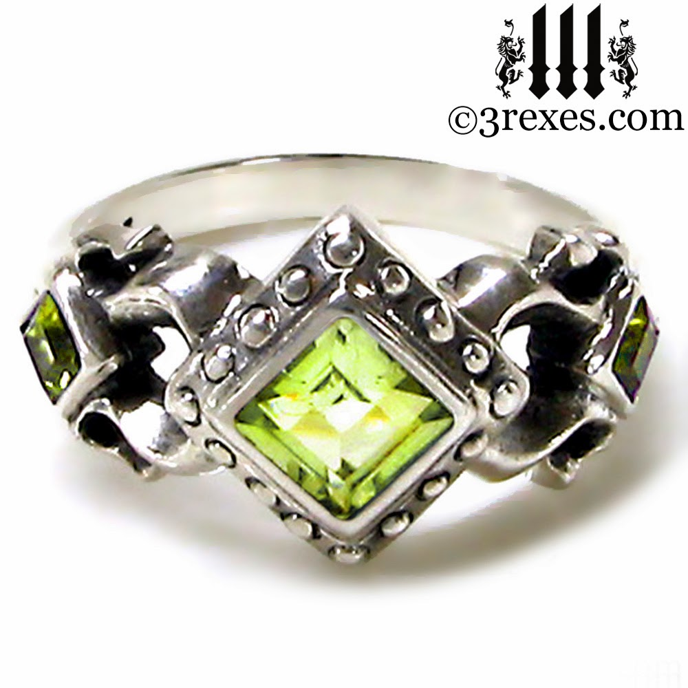 silver Gothic Engagement Ring green peridot stone